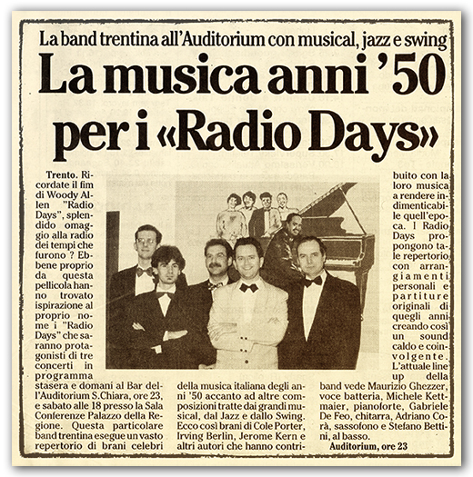 Radio Days quintet - Bettini, Kettmaier, De Feo, Ghezzer e Corà
